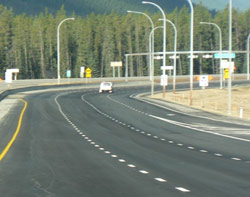 The Trans-Canada Highway (from the eastern boundary of Banff National Park toward Canmore) now has a new pavement, guardrails and better drainage.
