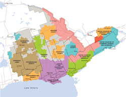 Map of Eastern Ontario Regional Network braodband project