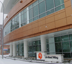 The new three-storey 1,858 m2 building for United Way's Winnipeg operation in the downtown area on Main Street at the Disraeli Freeway, between Pacific and Alexander Avenue