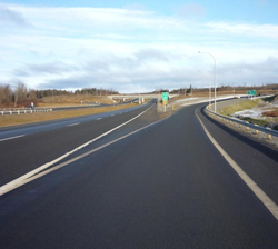 The reconfigured right turn ramp on the Trans-Canada Highway (Route 2)