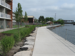 A multi-use trail along the edge of the Otonabee River in Peterborough