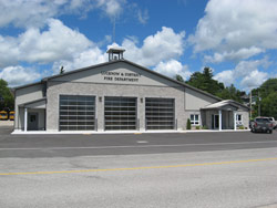 The three-door, six-bay facility can easily accommodate the department's fleet of three response vehicles. It also accommodates expanded gear rooms, equipment maintenance areas, and a firefighter training room.
