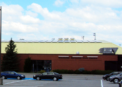 Solar panels on the roof of the Brockville Memorial Centre