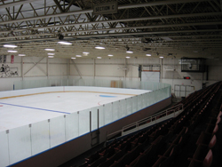 The new ice skating facility in the Preston Auditorium in Cambridge