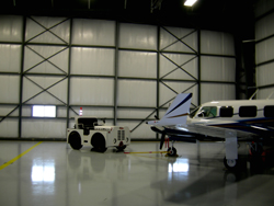 The new, 10,000-square-foot hangar in the St. Thomas Municipal Airport