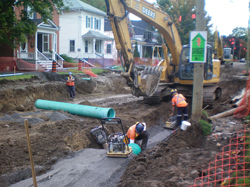 The sewers and water mains are being replaced along two streets in the older part of the town in Picton