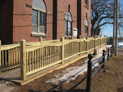 New wheelchair ramps at the Tignish post office on Prince Edward Island