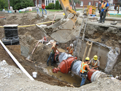 Water and sewer pipe replacements along streets in Granby