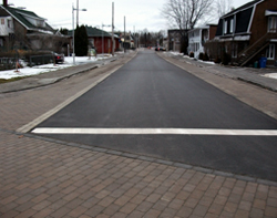 A repaired street in downtown Kénogami (Saguenay)