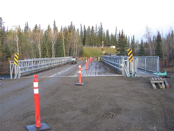 The new Nordenskiold Bridge can now easily accommodate the frequent heavy vehicles that pass through the region in Carmacks.