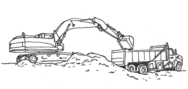 excavator and dump truck at construction site to be coloured
