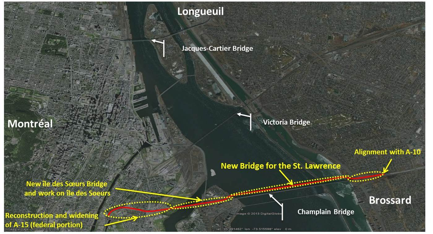 Map of New Bridge for the St. Lawrence Corridor Project