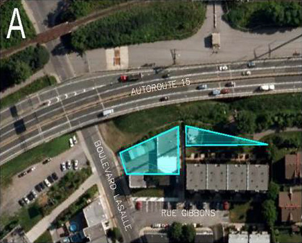 Photo A shows the intersection of Autoroute 15 and LaSalle Boulevard; affected areas are highlighted in teal