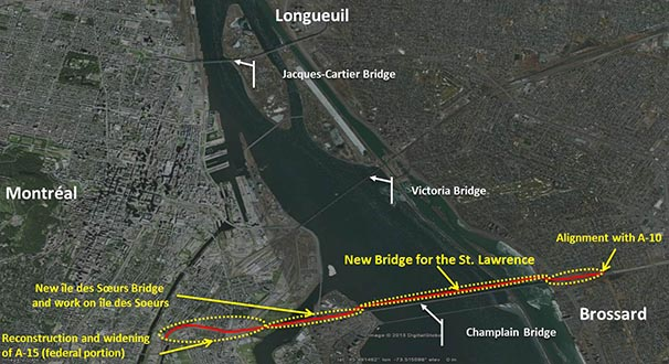Map showing the new bridge for the St. Lawrence corridor