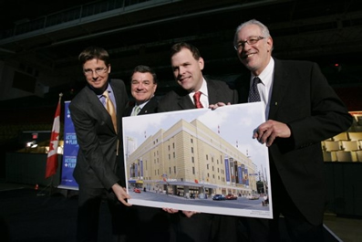 From left to right: Galen G. Weston, Executive Chairman of Loblaw Companies Limited, Jim Flaherty, Canada's Minister of Finance, John Baird, Canada's Minister of Transport and Infrastructure and Sheldon Levy, President of Ryerson University.