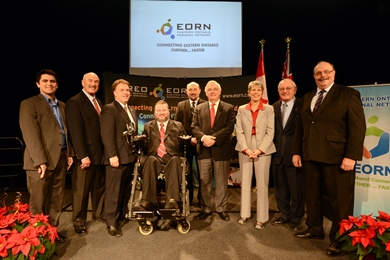 Dignitaries at the completion event of the Eastern Ontario Regional Network.