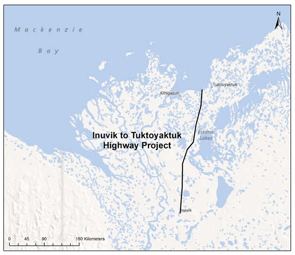 map showing the highway's path through the Northwest Territories