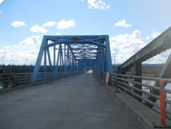 Newly painted Pelly River Bridge