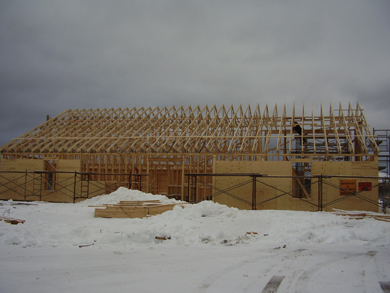Adding roof trusses to the library frame