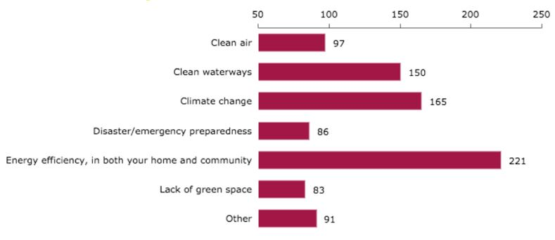 Figure 13: Responses for <em>What is your community's biggest environmental challenge?</em>