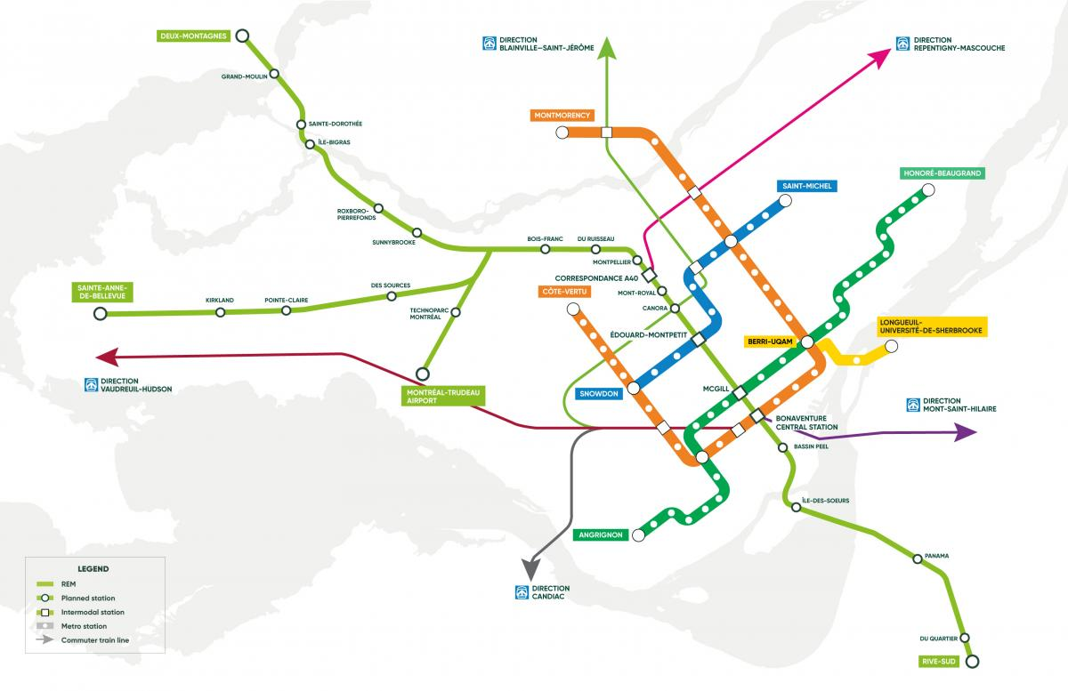 Reseau express metropolitain route map