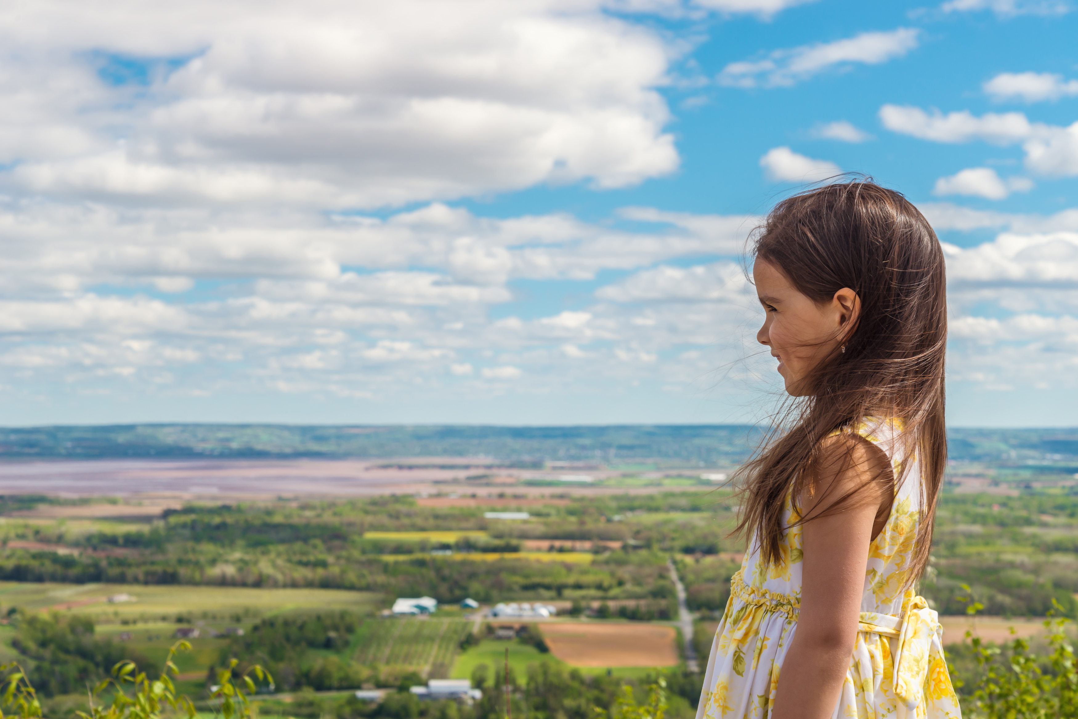 Little girl looking out to countryside from a hill top