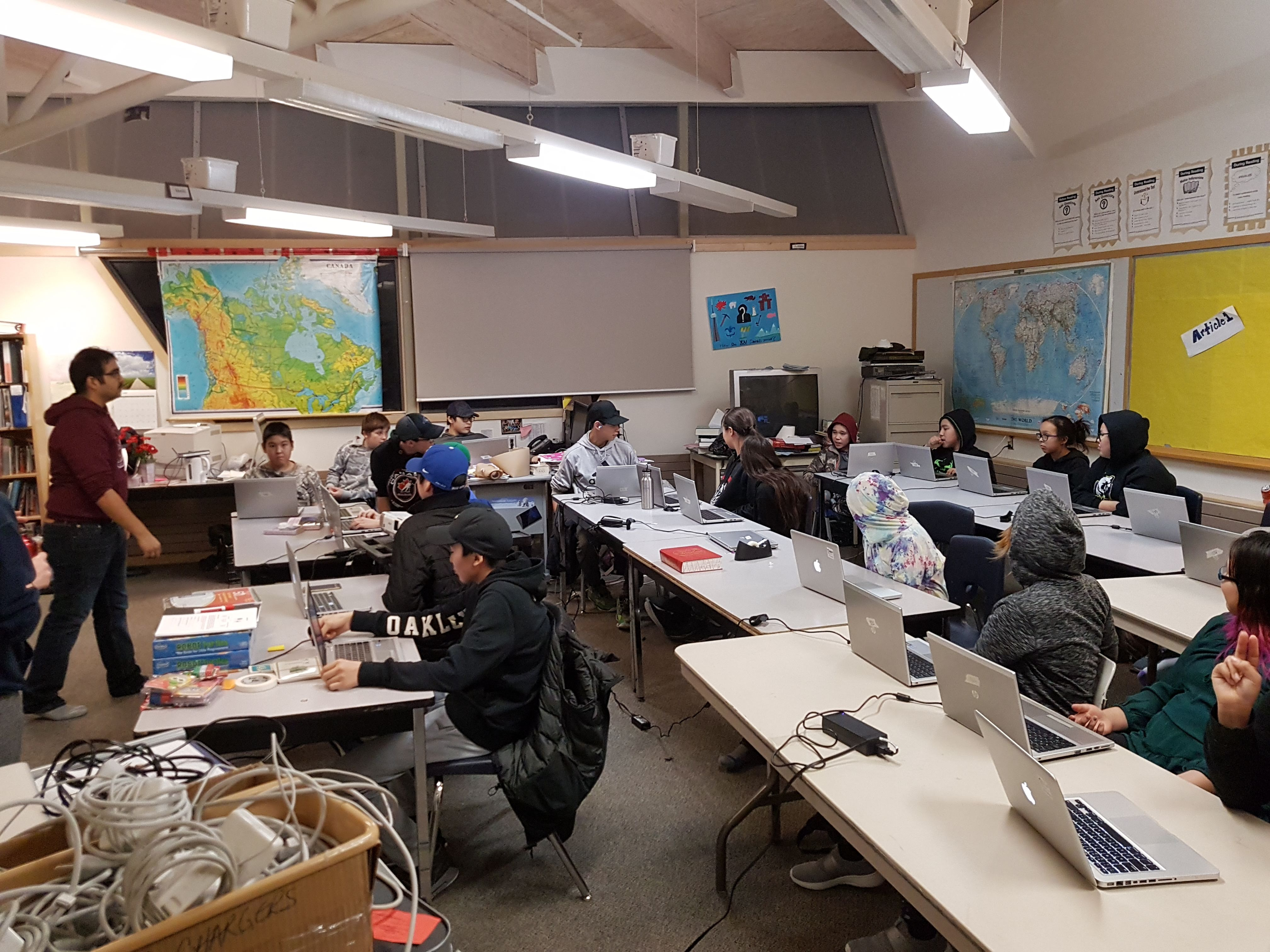 Students on laptops in classroom Nunavut