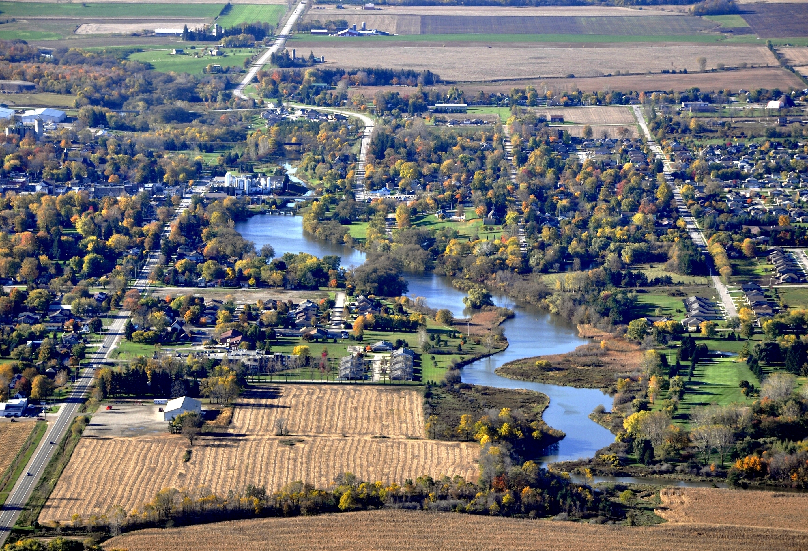 Aerial view of community in Mitchell, ON