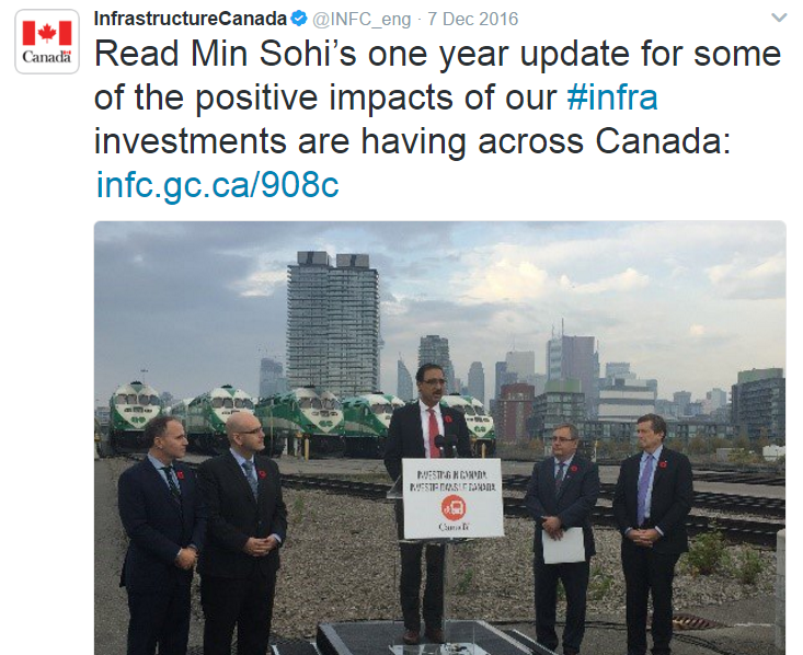 Image 2: Minister Sohi announcing new investments in Toronto for public transit infrastructure, November 2016.