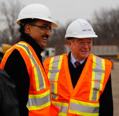 Amarjeet Sohi, Minister of Infrastructure and Communities and Michael Cautillo, Windsor-Detroit Bridge Authority President and CEO