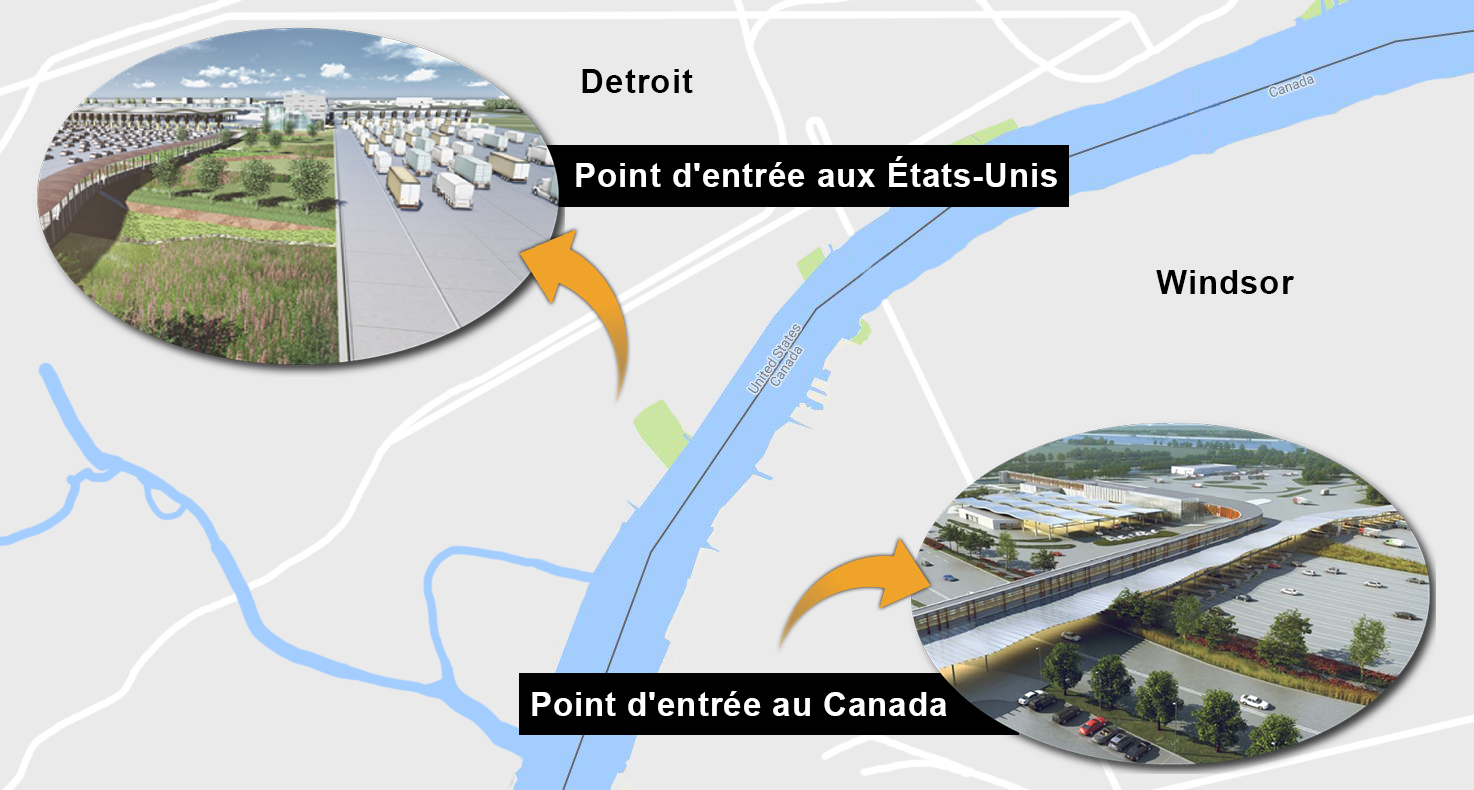 Carte des points d'entrée du pont international Gordie-Howe